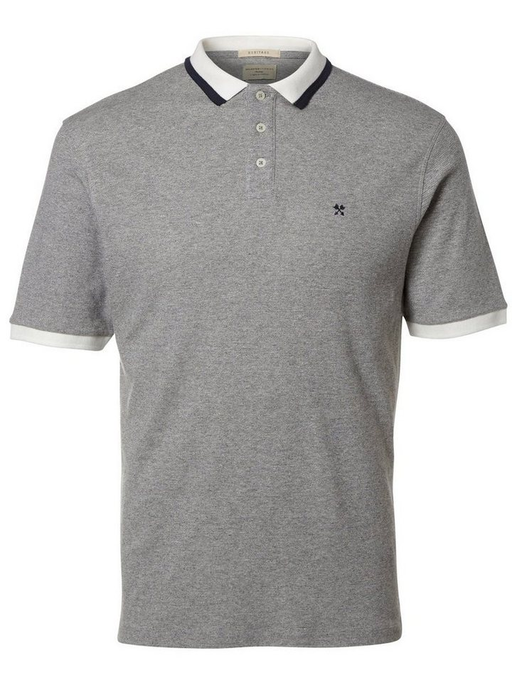 Selected Klassisches Poloshirt in Grey Melange