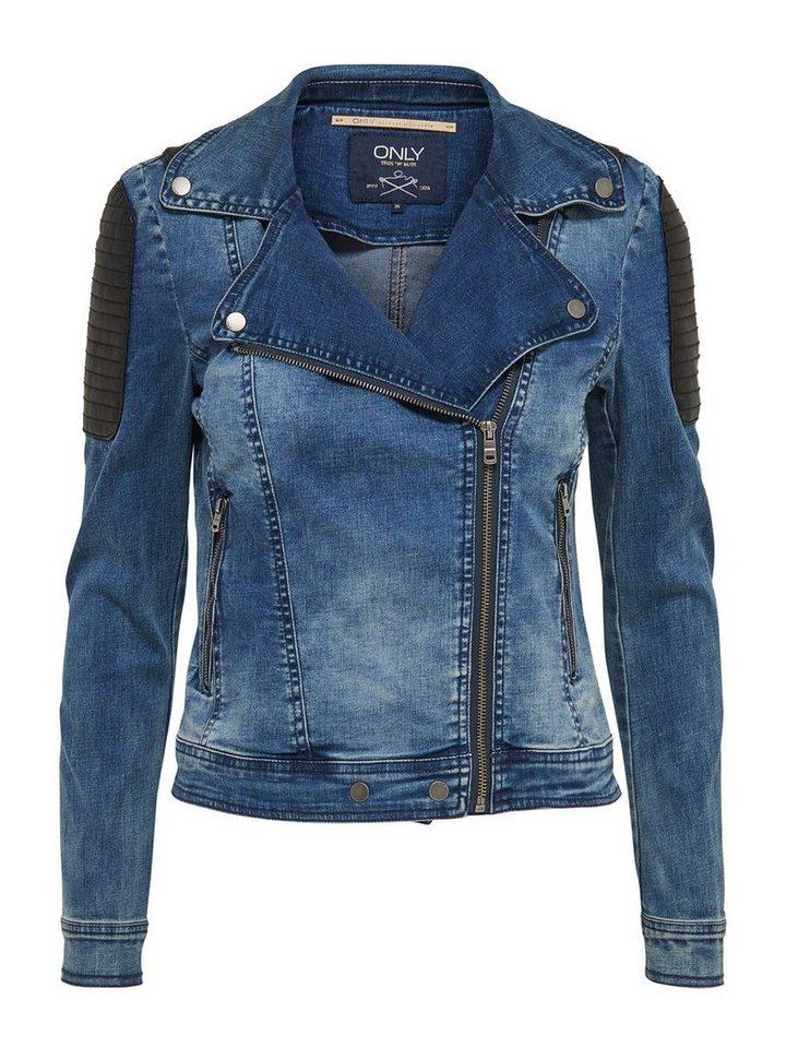 Only Kurze Biker- Jeansjacke in Medium Blue Denim