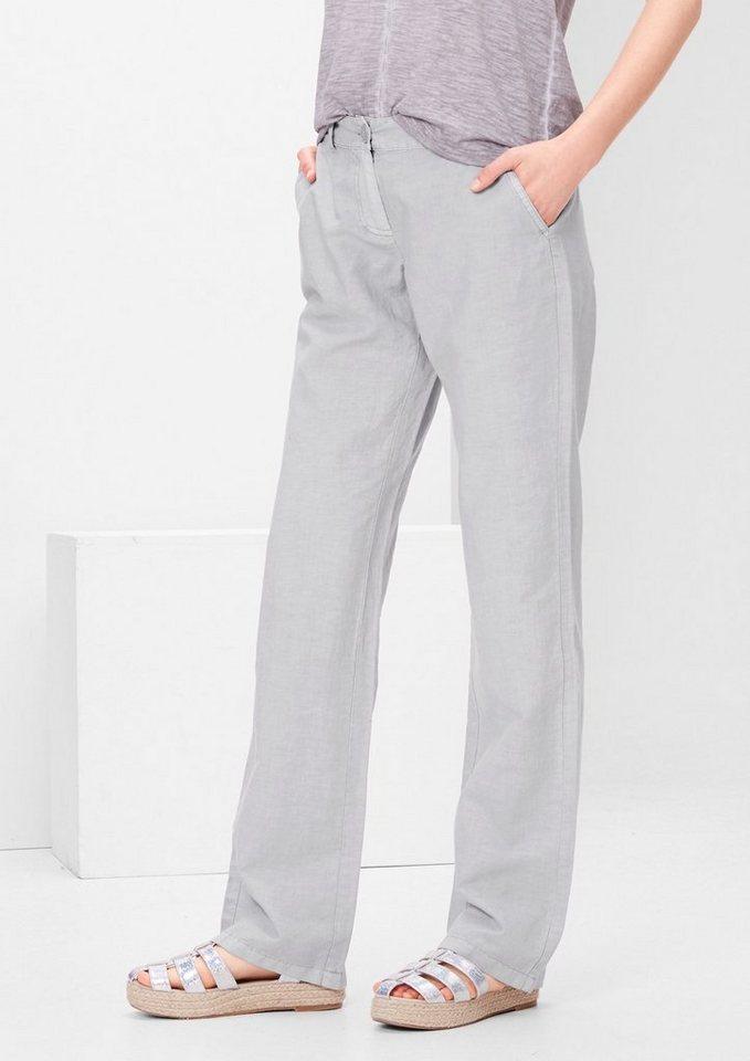 s.Oliver RED LABEL Smart Straight: Hose aus Leinen-Mix in silky grey