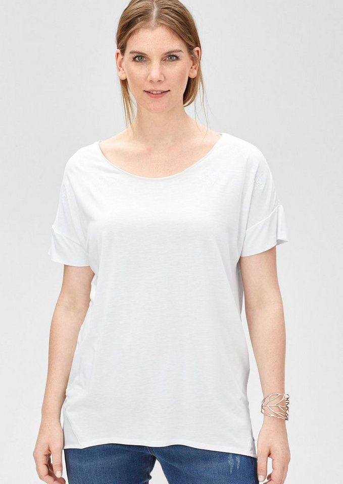 TRIANGLE Viskose-Shirt mit Sternenprint in white placed print