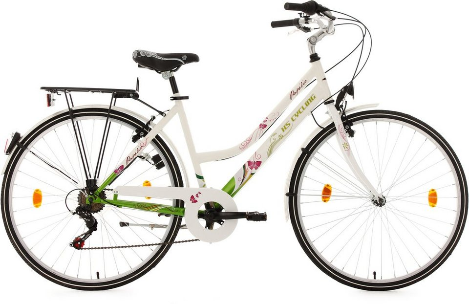 Cityrad, Damen, KS Cycling, »Papilio«, weiß, 26/28 Zoll 6 Gang Shimano Tourney, V-Brakes in weiß