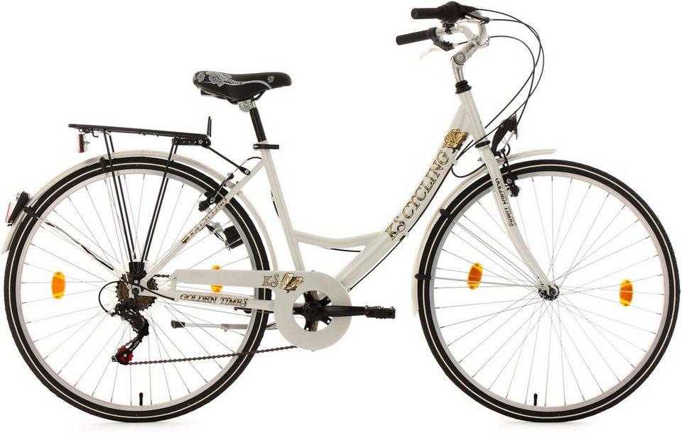 Cityrad, KS Cycling, »Golden Times«, weiß, 26 bzw. 28 Zoll 6 Gang Shimano Tourney, V-Brakes in weiß