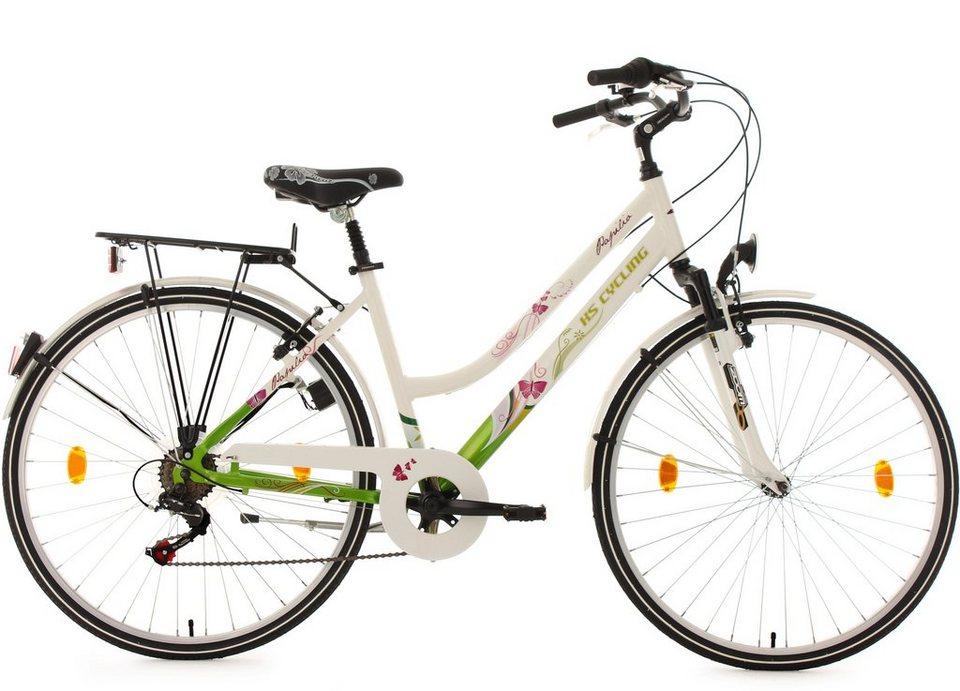 Cityrad, Damen, KS Cycling, »Papilio«, weiß, 28 Zoll 6 Gang Shimano Tourney, Alu V-Brakes in weiß