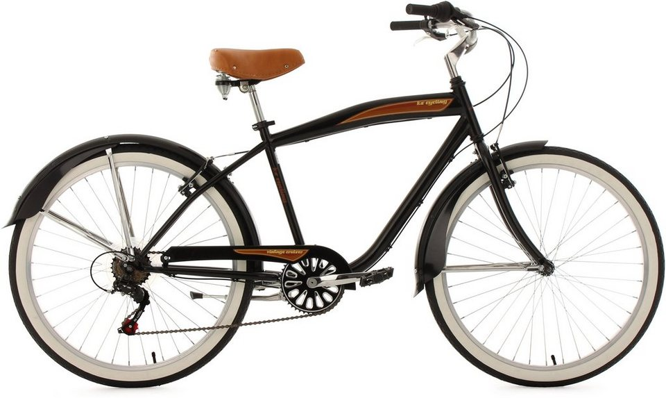 Beachcruiser Herren, KS Cycling, »Vintage«, 26 Zoll 6 Gang Shimano Tourney, V-Brakes in schwarz