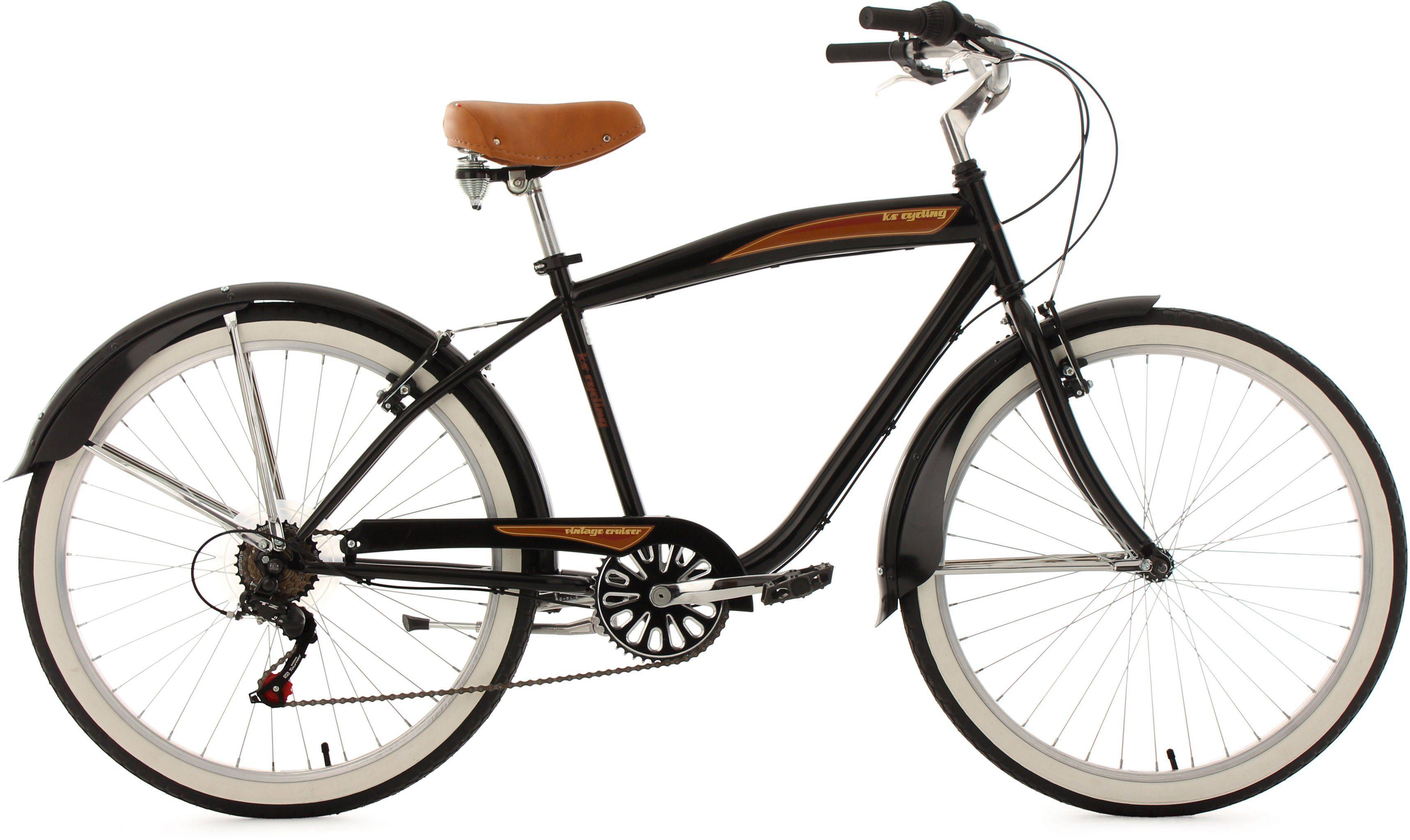 Beachcruiser Herren, KS Cycling, »Vintage«, 26 Zoll 6 Gang Shimano Tourney, V-Brakes