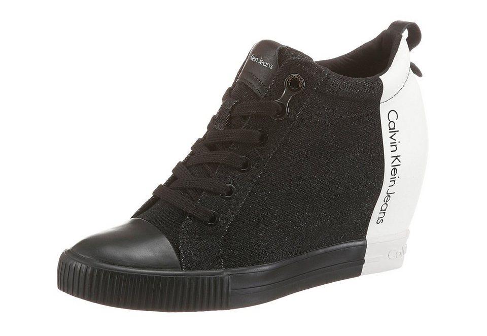 Calvin Klein Wedgesneaker im Kontrast-Look in schwarz-weiß