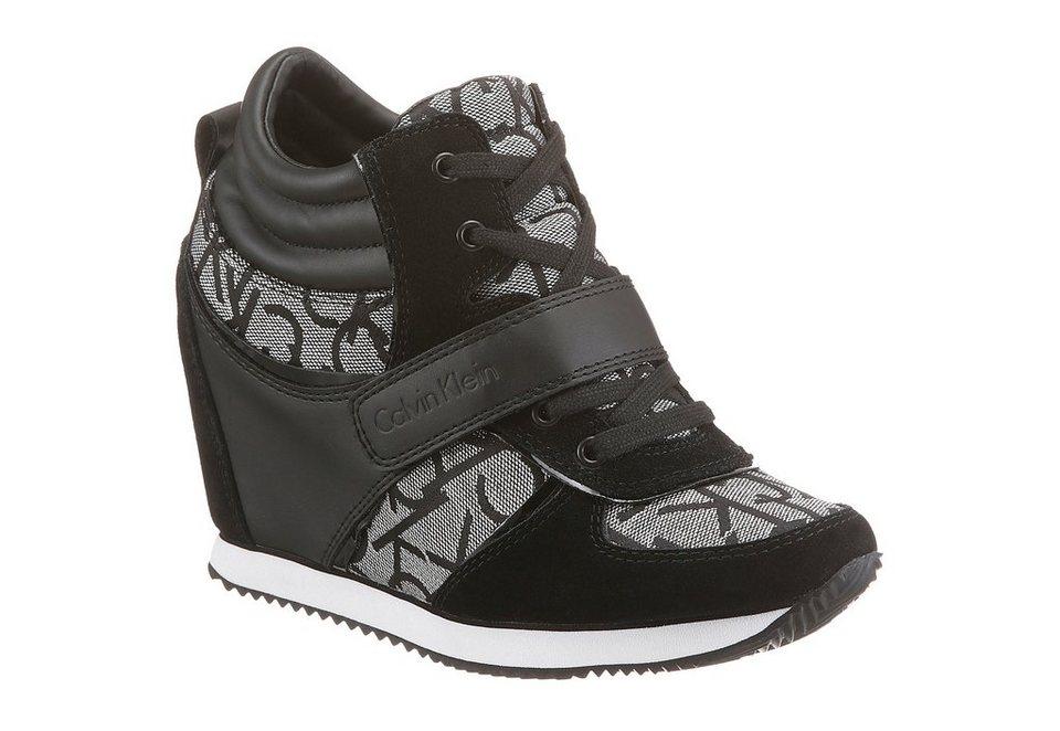 Calvin Klein Wedgesneaker in schwarz-silberfarben