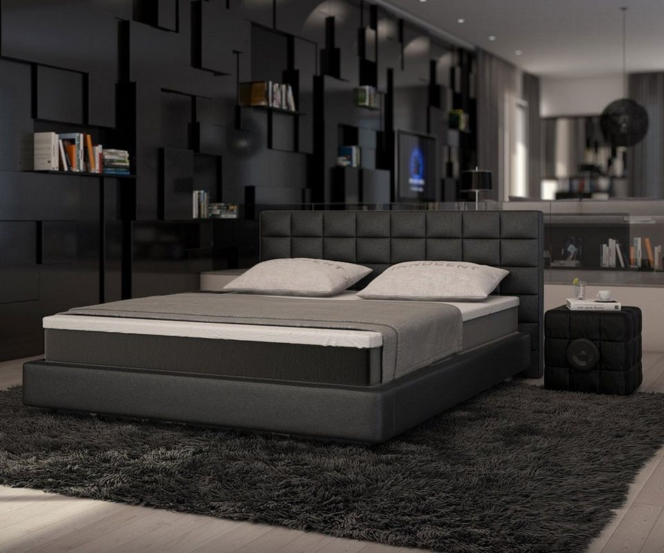 delife bett junis schwarz 180x200 cm mit topper und. Black Bedroom Furniture Sets. Home Design Ideas