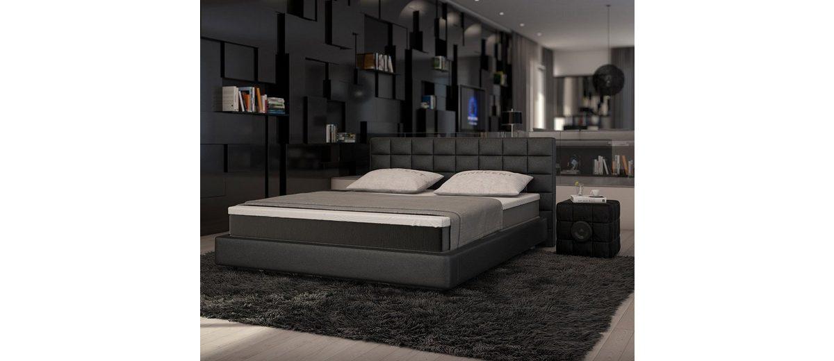DELIFE Bett Junis Schwarz 180x200 cm mit Topper und Matratze