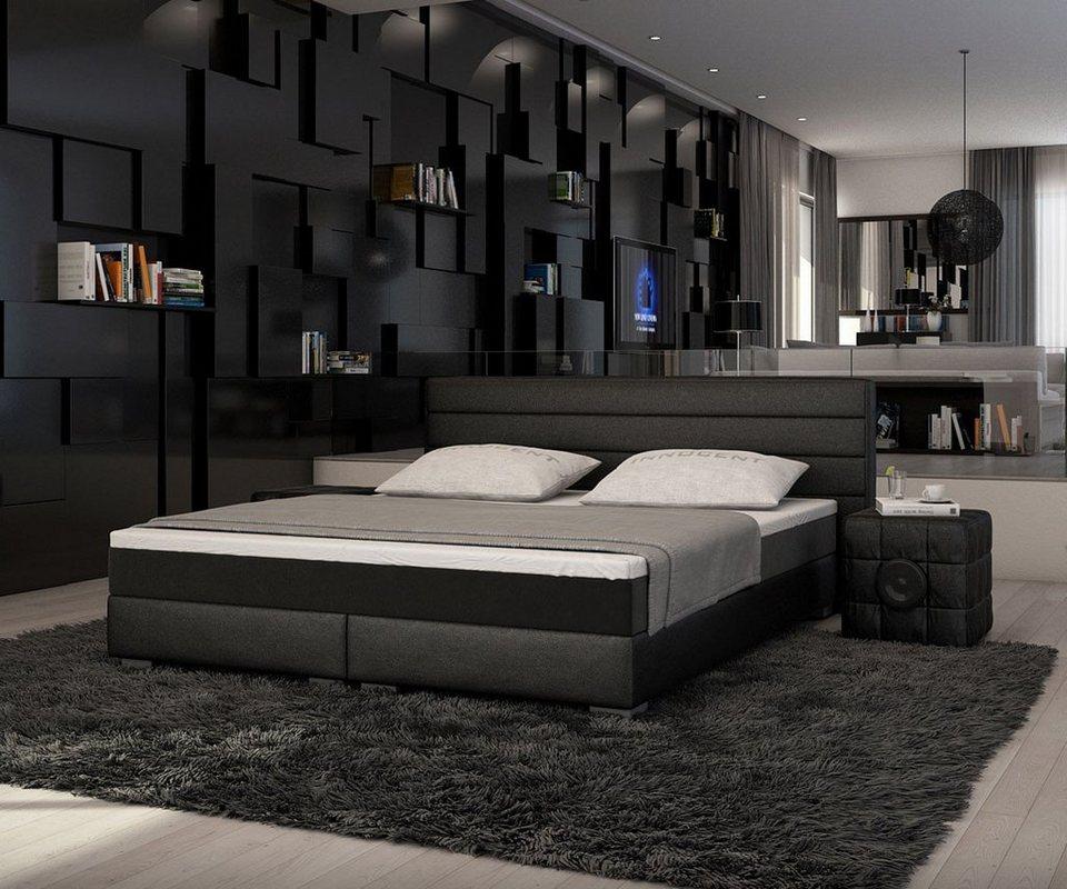 DELIFE Bett Sirena Schwarz 180x200 cm mit Topper und Matratze in Schwarz