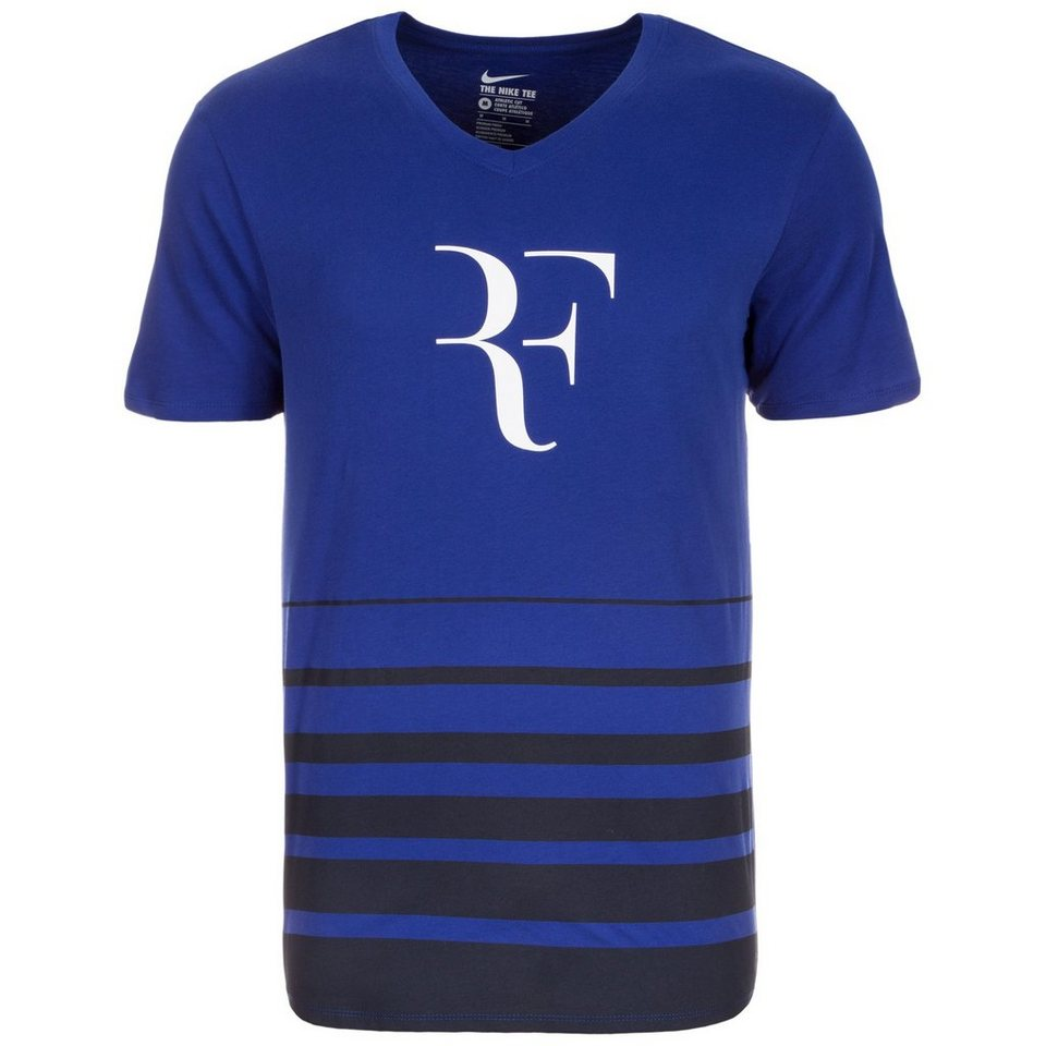 NIKE Roger Federer Tennisshirt Herren in blau / dunkelblau