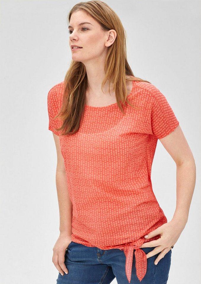 TRIANGLE Zartes Mesh-Shirt mit Minimalmuster in papaya