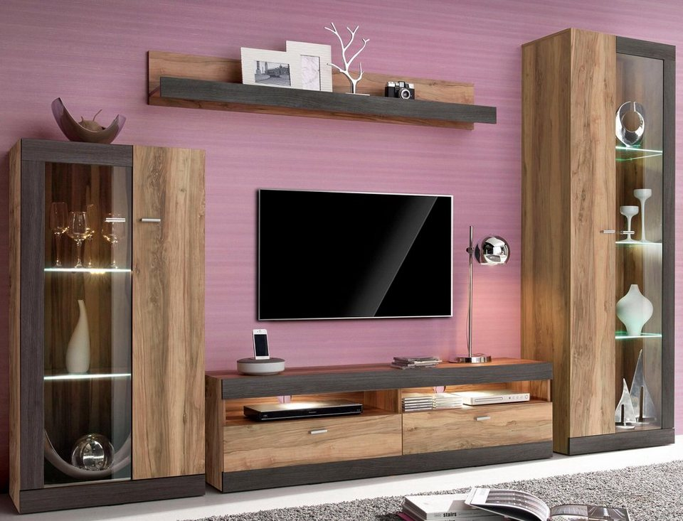 wohnwand 4 tlg online kaufen otto. Black Bedroom Furniture Sets. Home Design Ideas