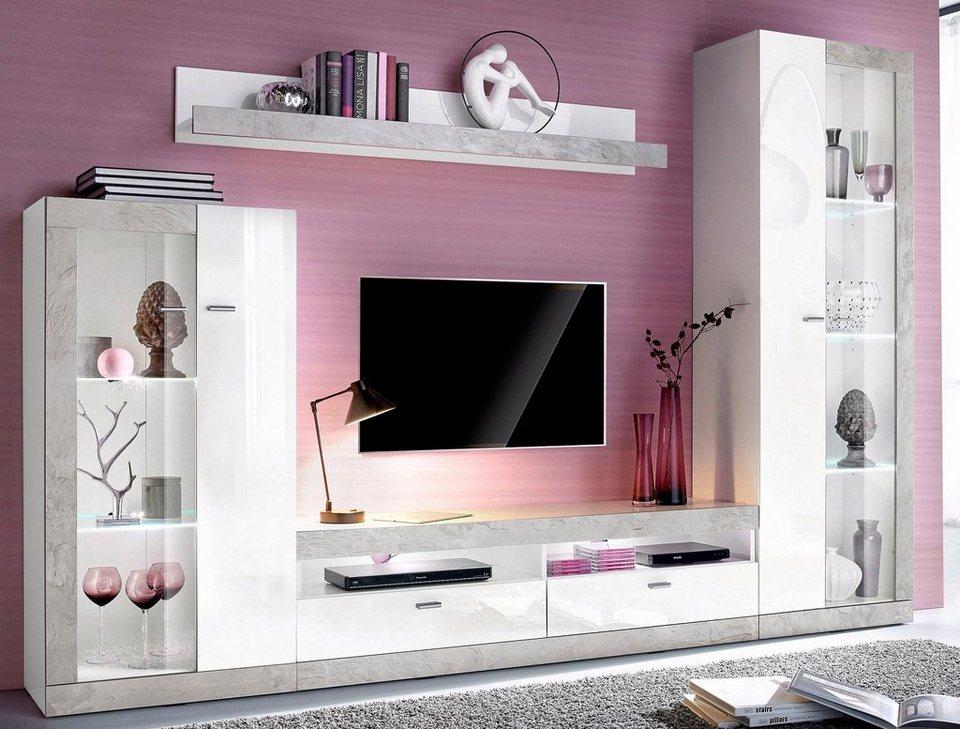 Wohnwand weiß hochglanz otto  Wohnwand (4-tlg.) online kaufen | OTTO
