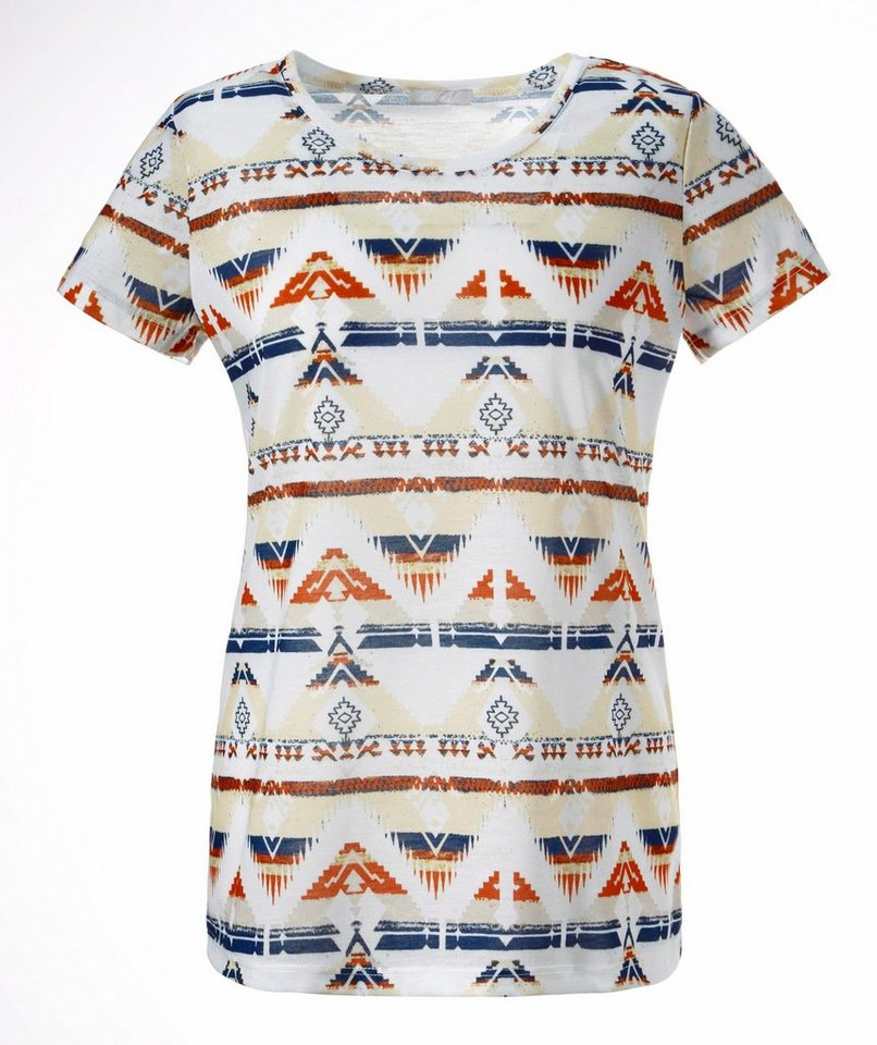 Cheer T-Shirt mit Ethno-Print in natur-weiß-rostbraun-marine-beige