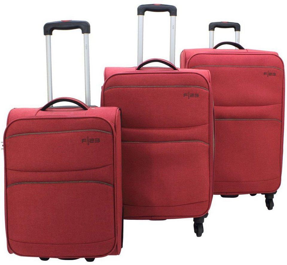 F23 Weichgepäck Trolley Set mit 2/4 Rollen, 3-tlg., »Santa Cruz 2.0« in rot/braun