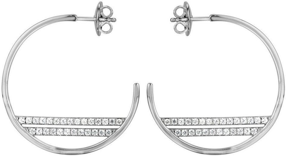 JOOP! Paar Creolen mit Zirkonia, »JP-T REFINED, JPER90360A000« in Silber 925