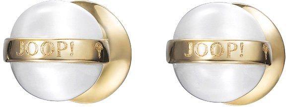 JOOP! Paar Ohrstecker mit Katzenauge, »JP-T PEARL, JPER00006B000« in goldfarben-weiß