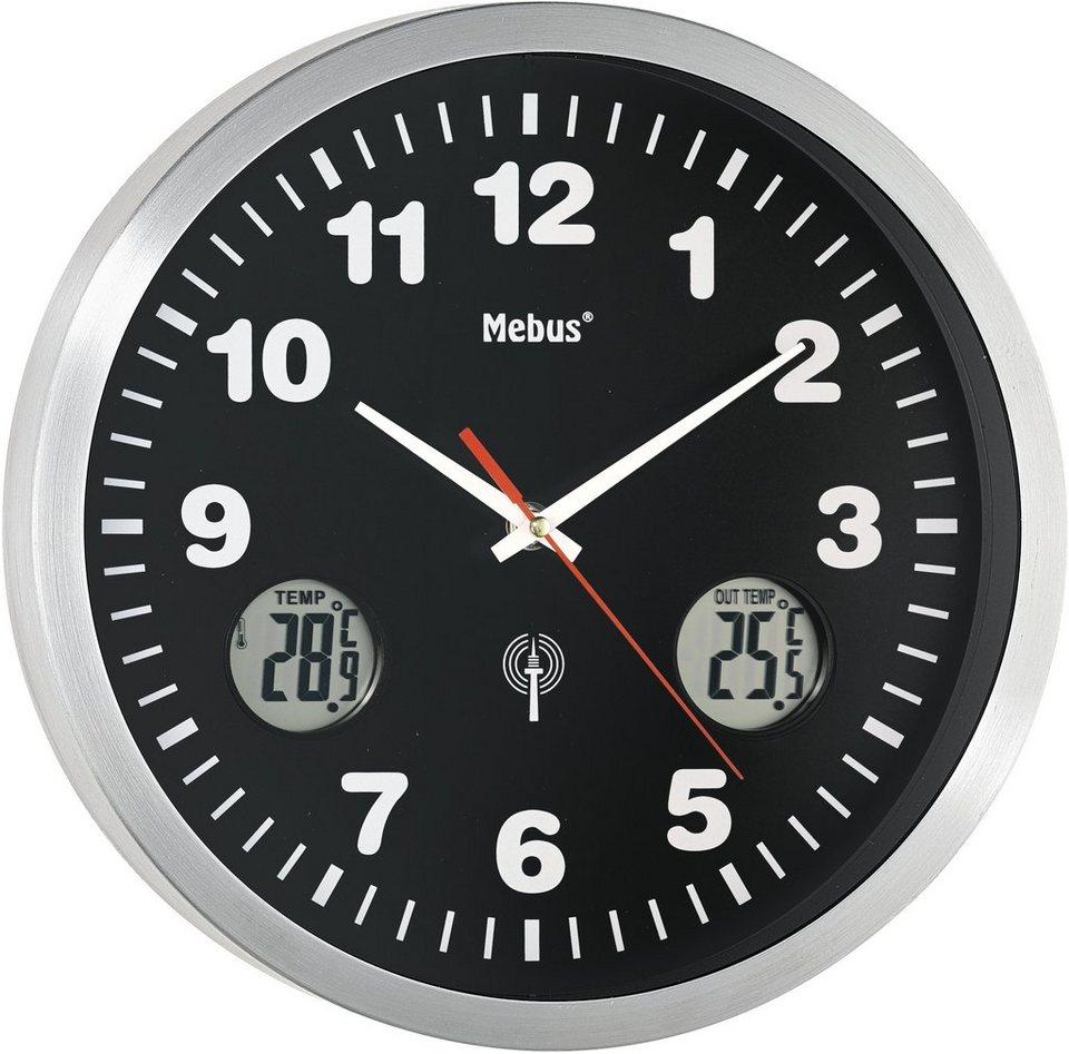 Mebus Funkwanduhr, »41239« in silberfarben-schwarz