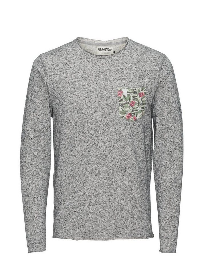 Jack & Jones Blumendetailliertes Sweatshirt in Grey Melange