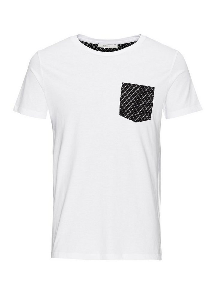 Jack & Jones Kontrast-Taschen T-Shirt in White 2