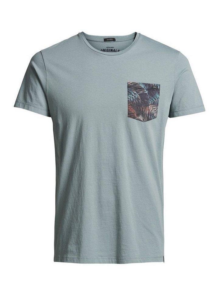 Jack & Jones Blumentaschen- T-Shirt in Mineral Blue