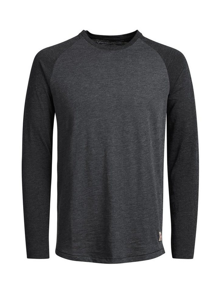 Jack & Jones Raglan T-Shirt mit langen Ärmeln in Caviar 2