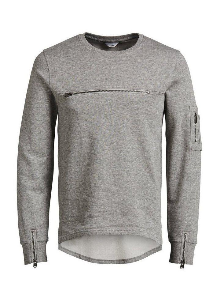 Jack & Jones Reißverschlussdetailliertes T-Shirt mit langen Ärmeln in Light Grey Melange