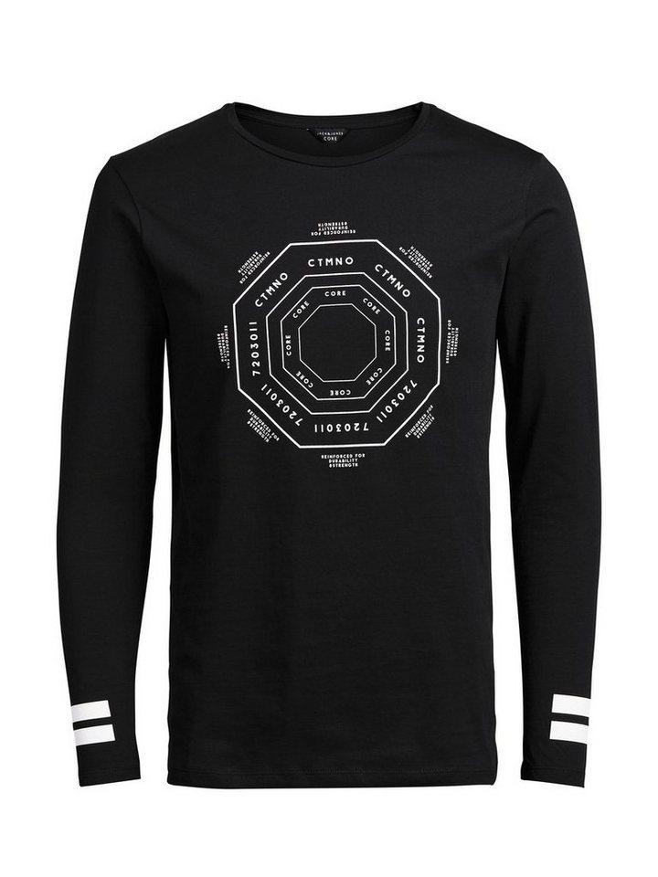 Jack & Jones Grafisches, langärmeliges T-Shirt in Black