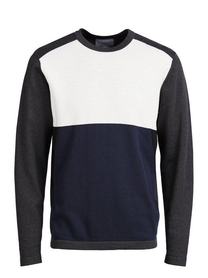 Jack & Jones Colour-Blocking- Pullover in Navy Blazer