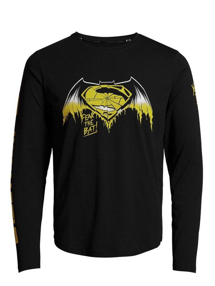 Jack & Jones Batman v Superman T-Shirt mit langen Ärmeln in Black
