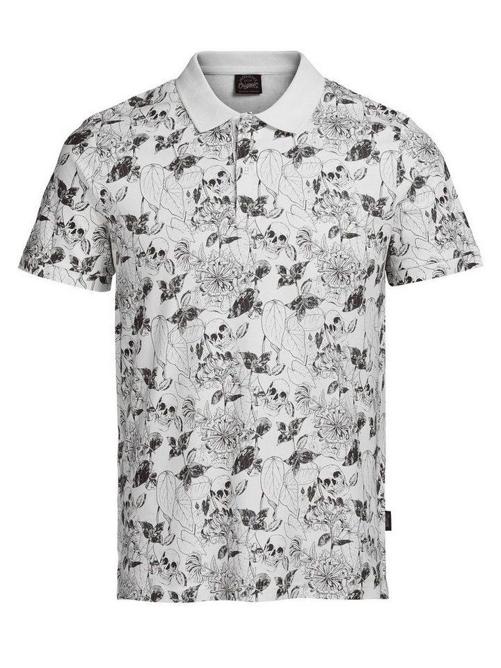 Jack & Jones Komplett bedrucktes Poloshirt in White