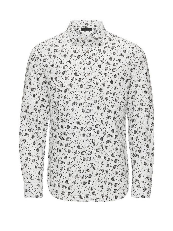 Jack & Jones Leinenmischfaser-Blumen- Businesshemd in White