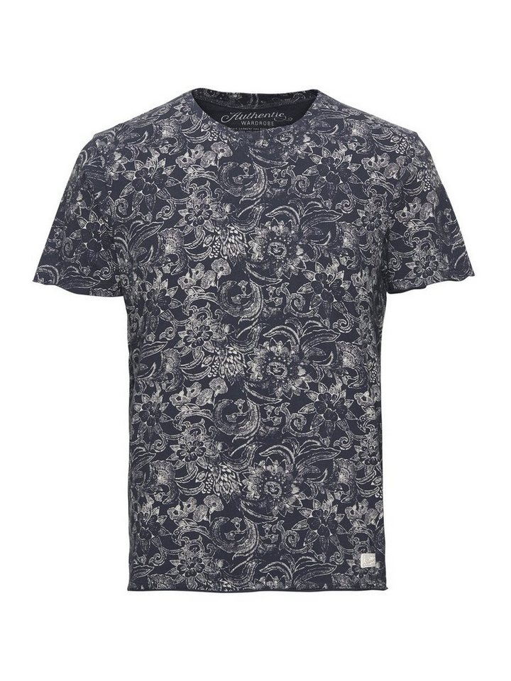Jack & Jones Blumen-Print- T-Shirt in Mood Indigo