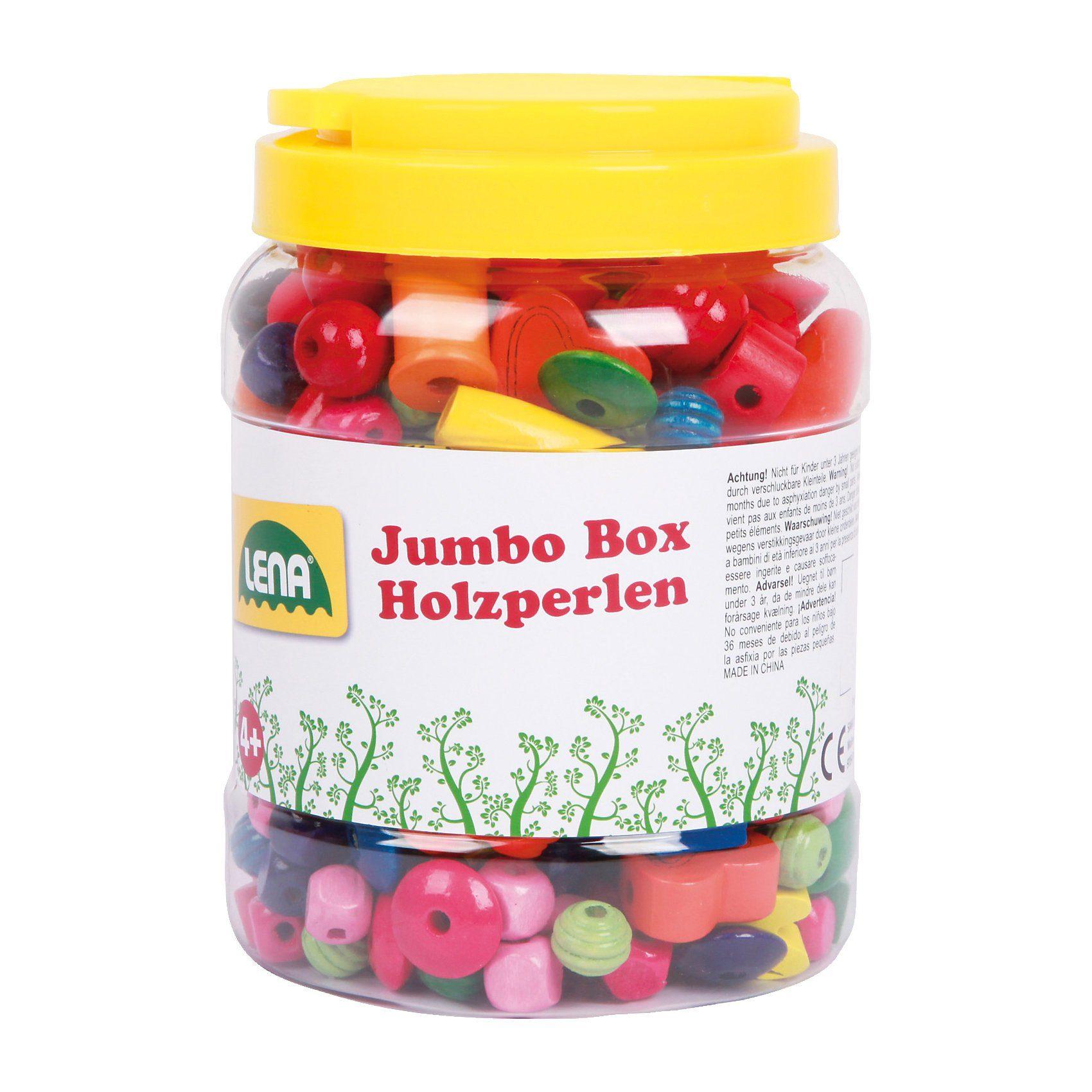 LENA Jumbo Box Holzperlen, ca. 500 Perlen