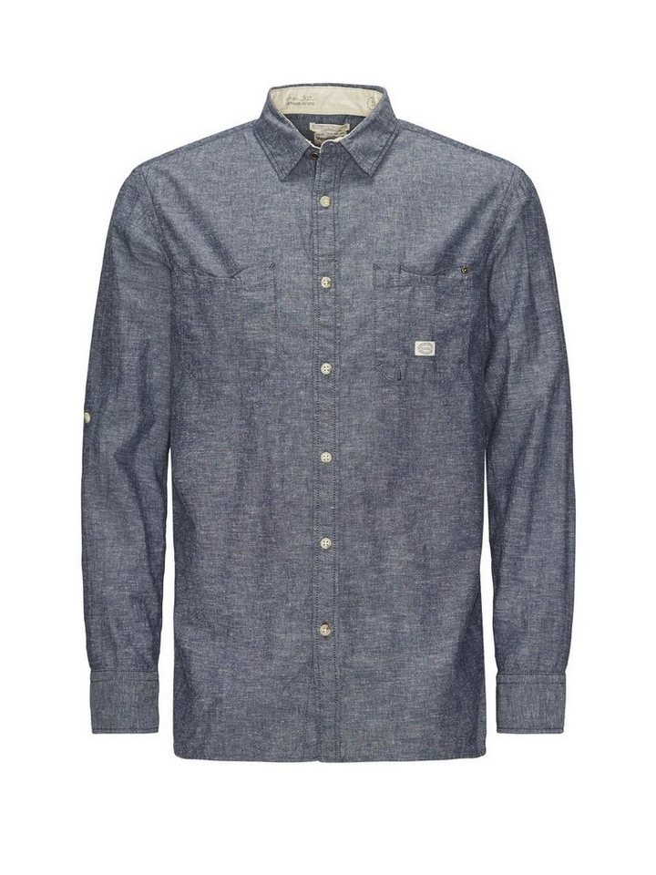 Jack & Jones Chambray- Freizeithemd in Medium Blue Denim