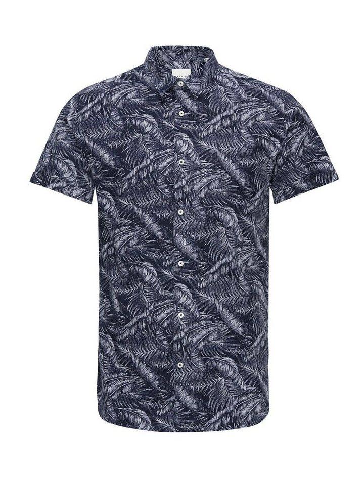 Jack & Jones Blumenbedrucktes Kurzarmhemd in Navy Blazer