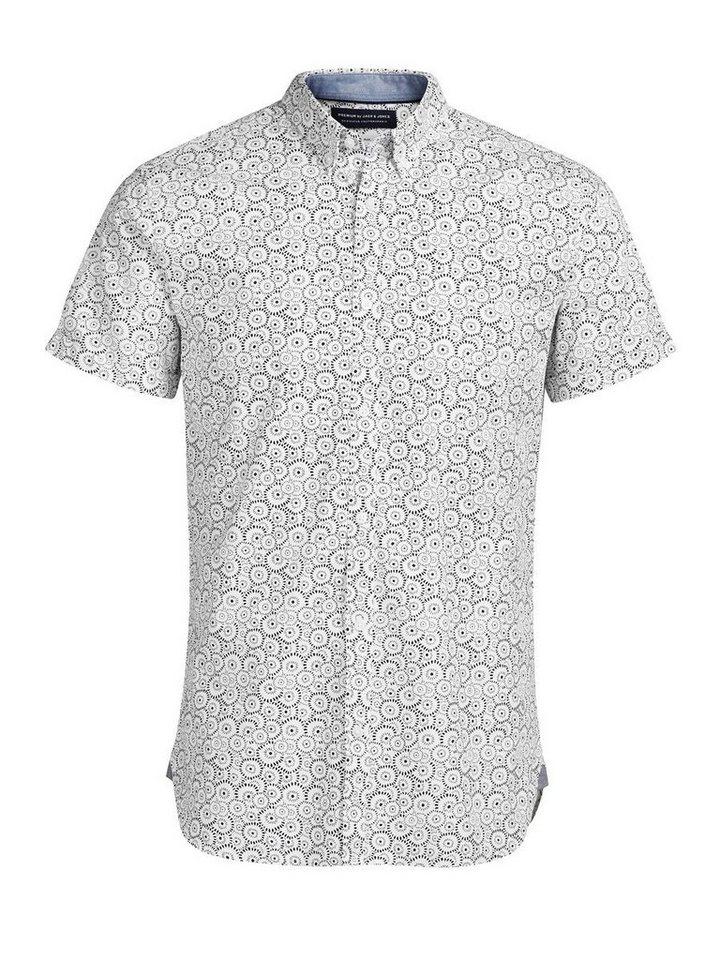Jack & Jones Bedrucktes Kurzarmhemd in White