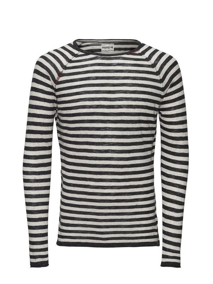 Jack & Jones Leichter, gestreifter Pullover in Dark Grey Melange