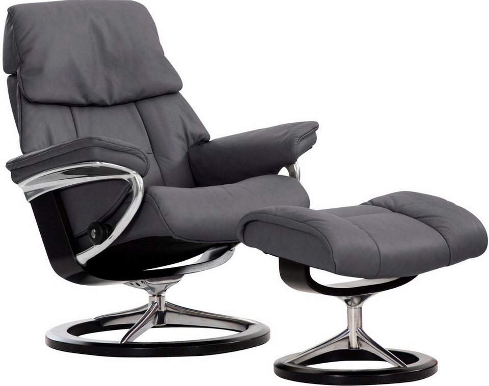 Stressless® Set: Relaxsessel mit Hocker »Ruby« mit Signature Base, Größe S, mit Schlaffunktion in grey
