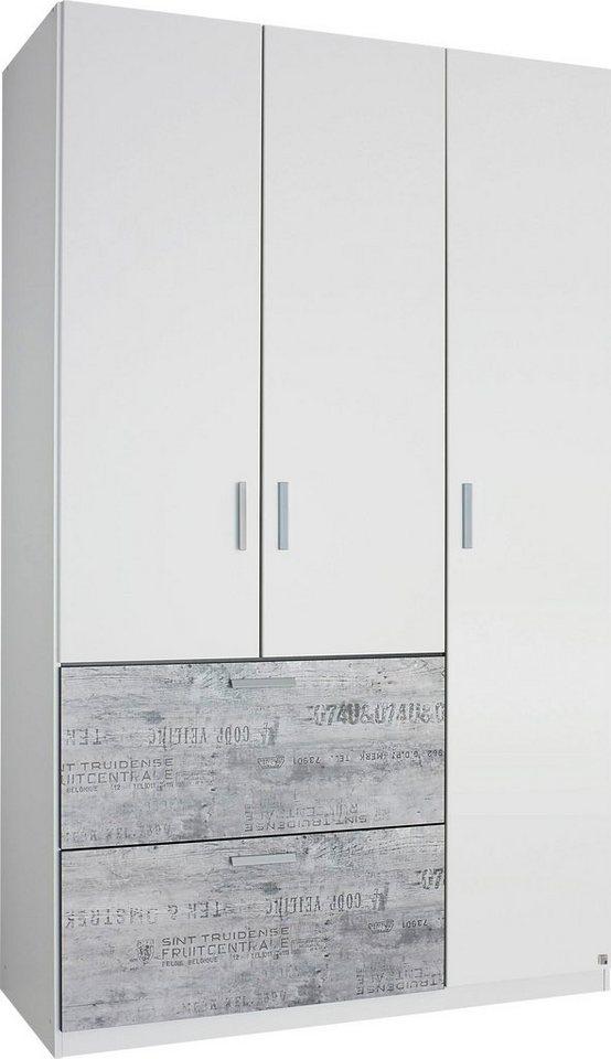 rauch Kleiderschrank in weiß mit grauem Vintage-Dekor
