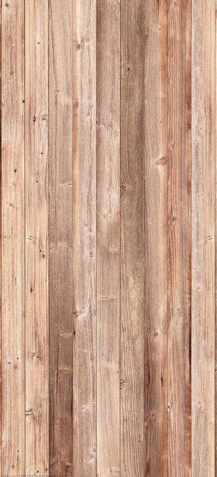 Eurographics Türtapete »Wooden Wall«, 92/202 cm in bunt