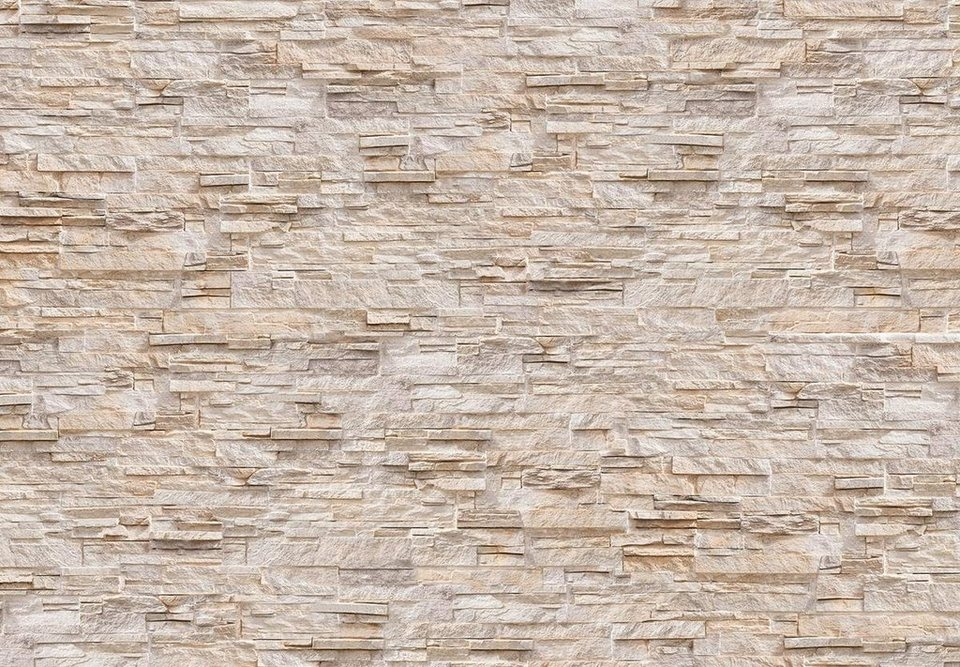 Eurographics Fototapete »Natural Stone Wall«, 366/254 cm in beige