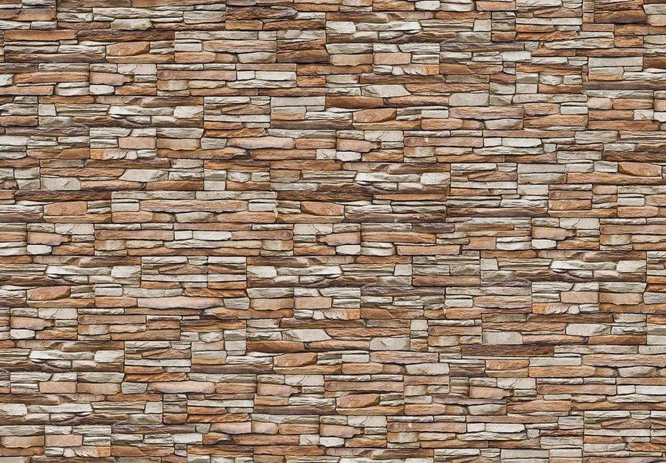 Eurographics Fototapete »Wall Of Stones«, 366/254 cm in braun