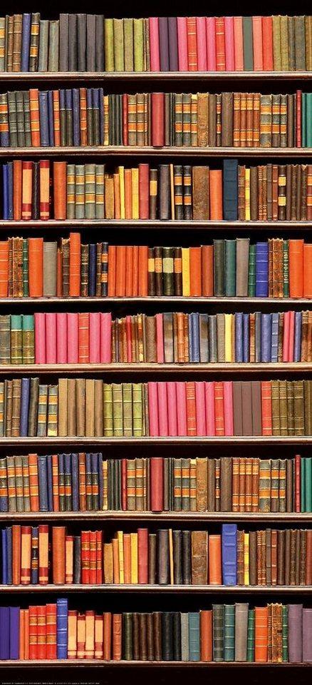 Eurographics Türtapete »Library«, 92/202 cm in bunt