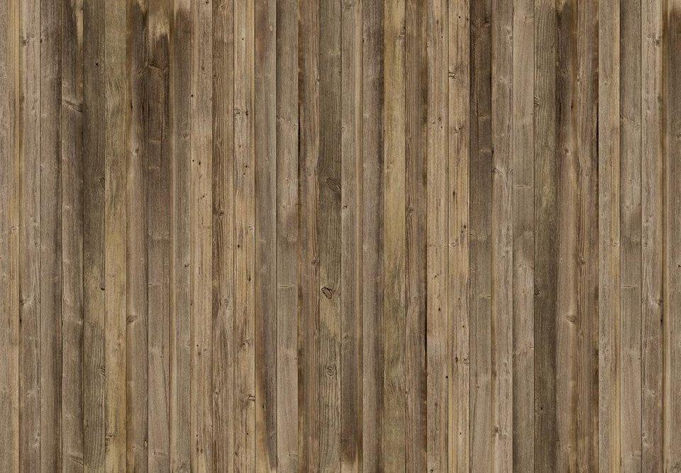 Eurographics Fototapete »Brown Wood Wall«, 366/254 cm in braun