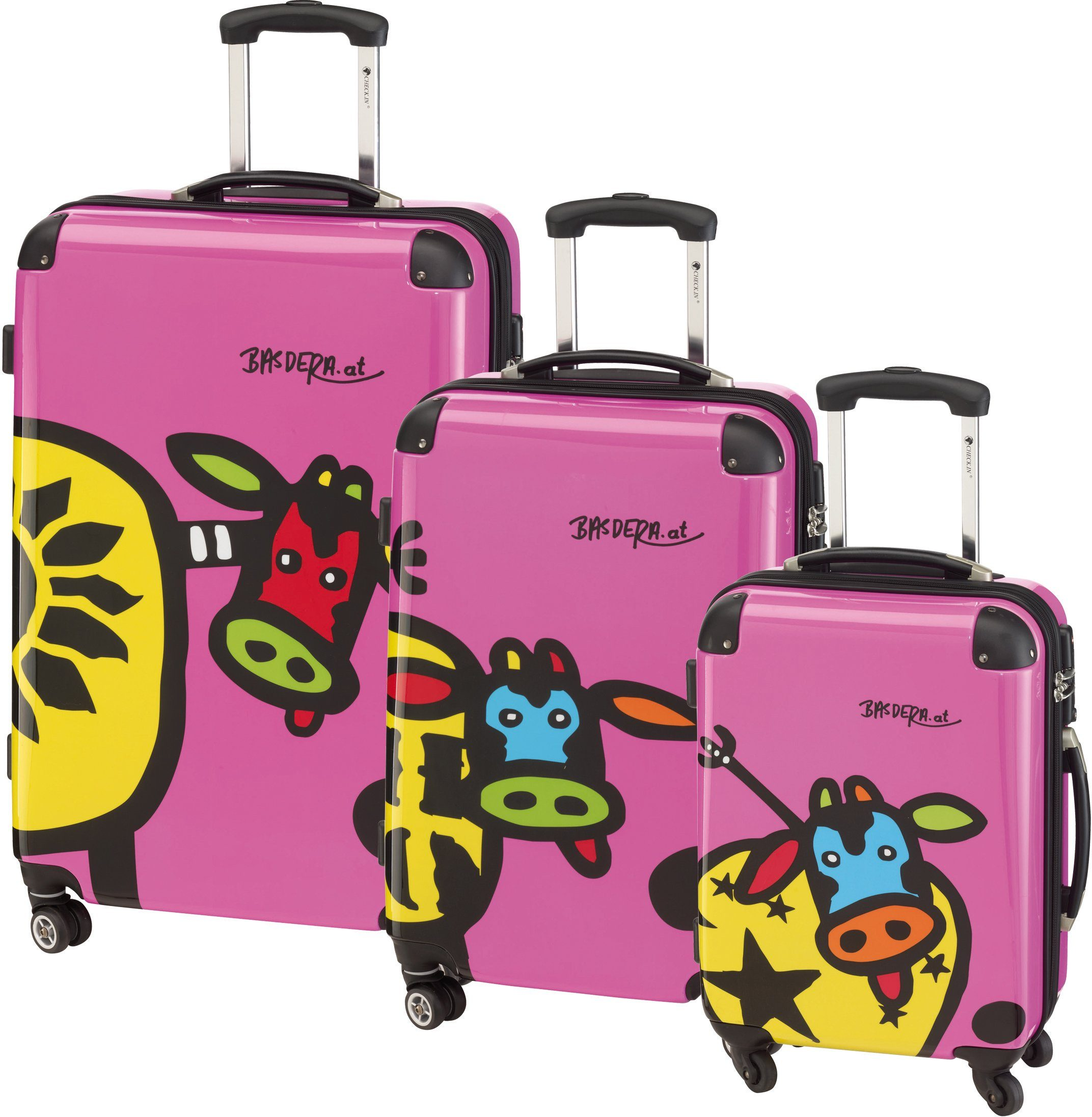 CHECK.IN® Hartschalentrolley Set mit 4 Rollen, 3tlg., »Kuhliane & Familie, pink«
