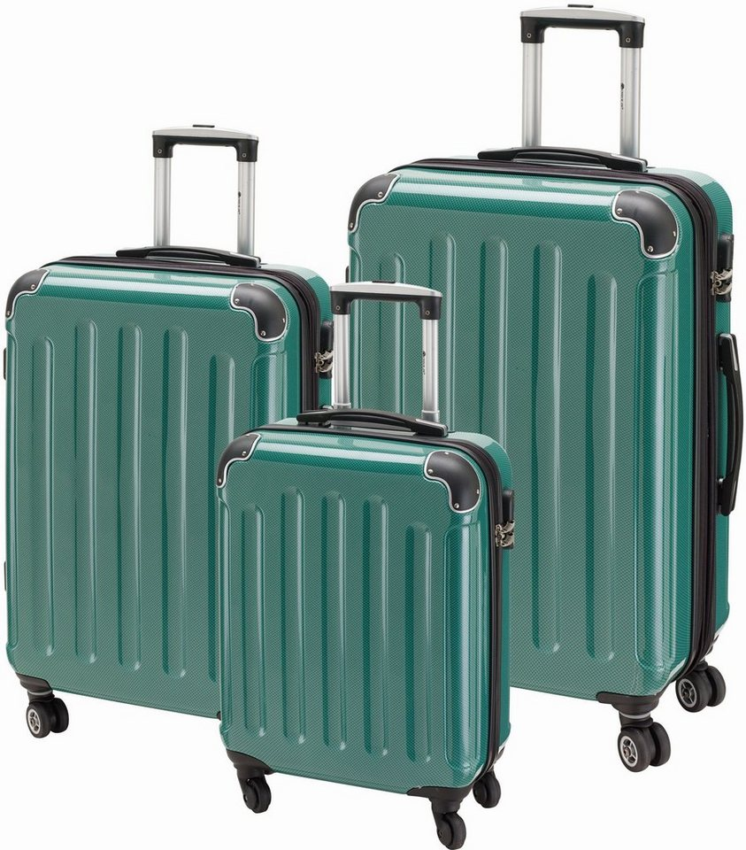 CHECK.IN® Hartschalentrolley Set mit 4 Rollen, 3tlg., »Kairo« in carbon dunkelgrün