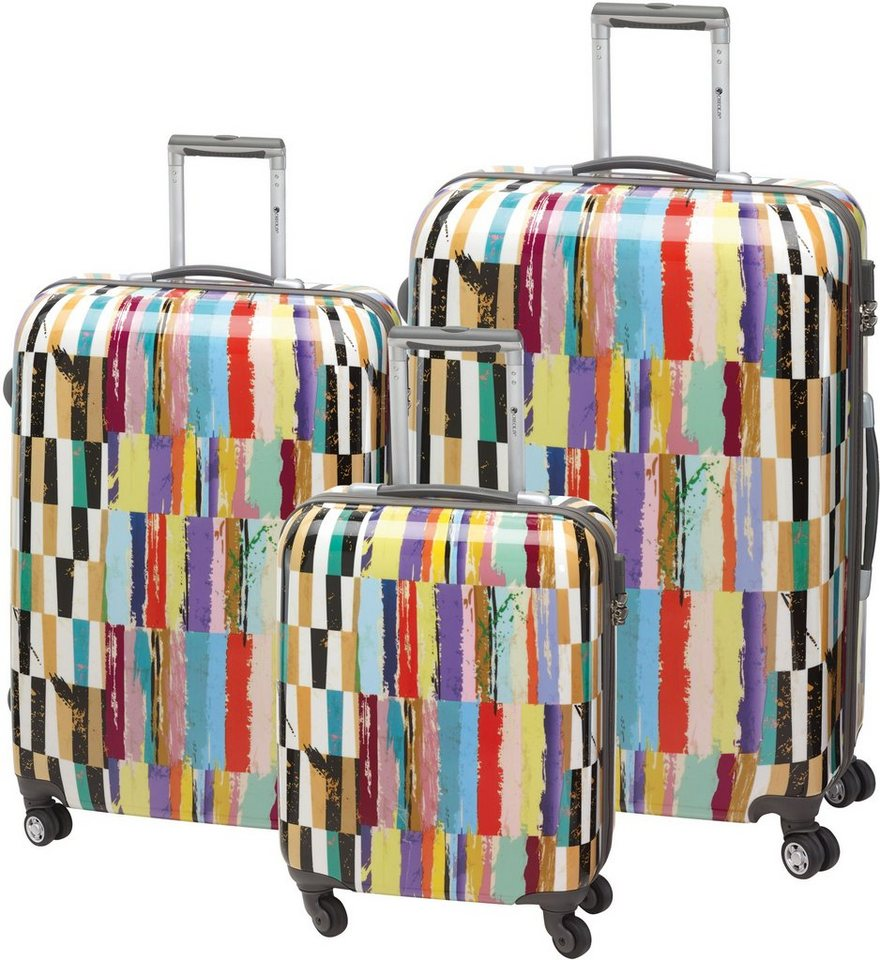 CHECK.IN® Hartschalentrolley Set mit 4 Zwillingsrollen, 3tlg., »Aruba« in bunt