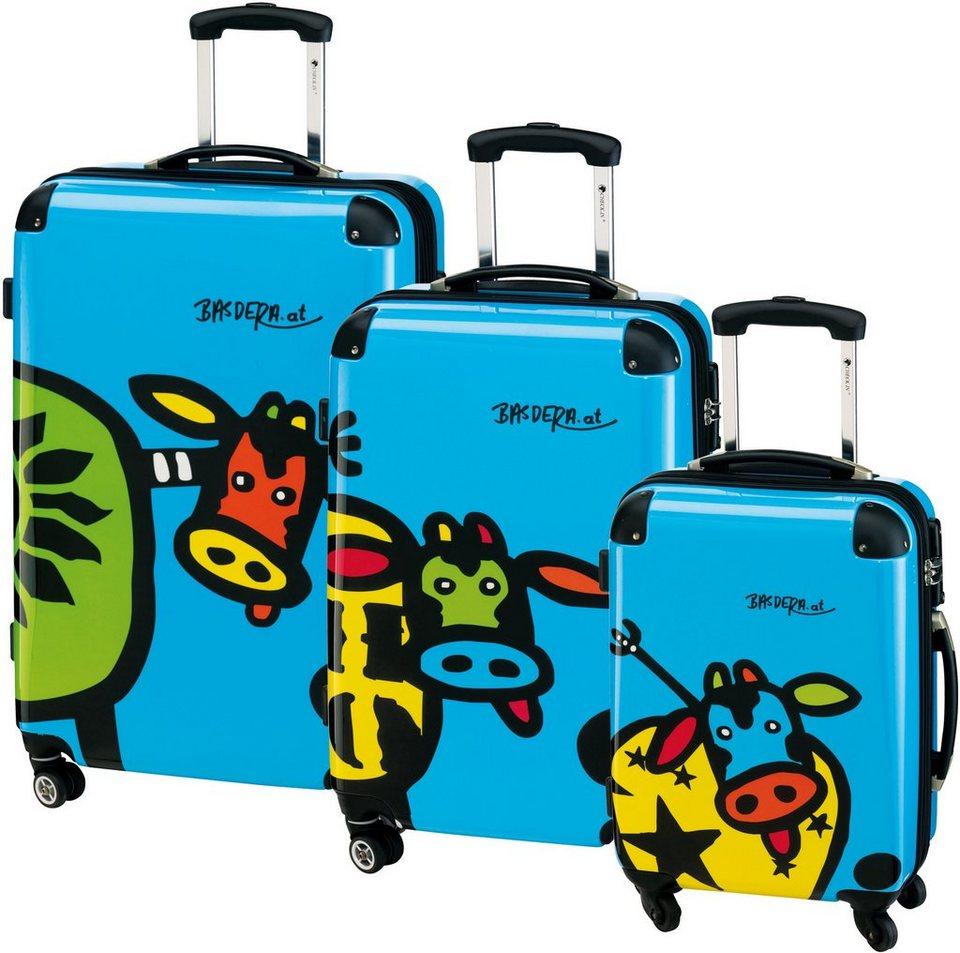 CHECK.IN® Hartschalentrolley Set mit 4 Rollen, 3tlg., »Kuhliane & Familie, blau« in blau